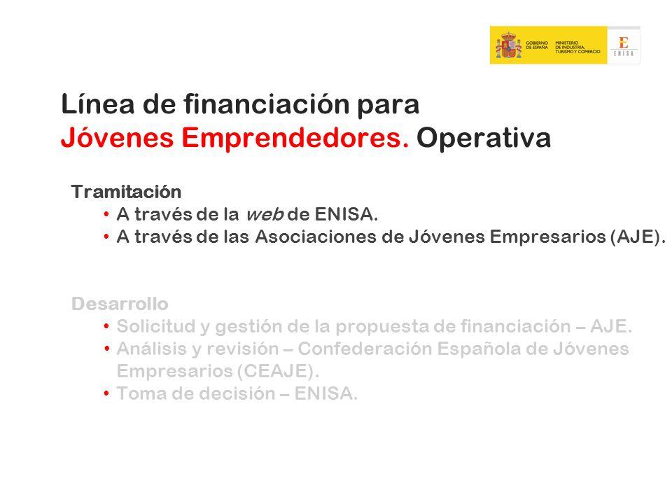 Tramitación A través de la web de ENISA. A través de las Asociaciones de Jóvenes Empresarios (AJE). Desarrollo Solicitud y gestión de la propuesta de