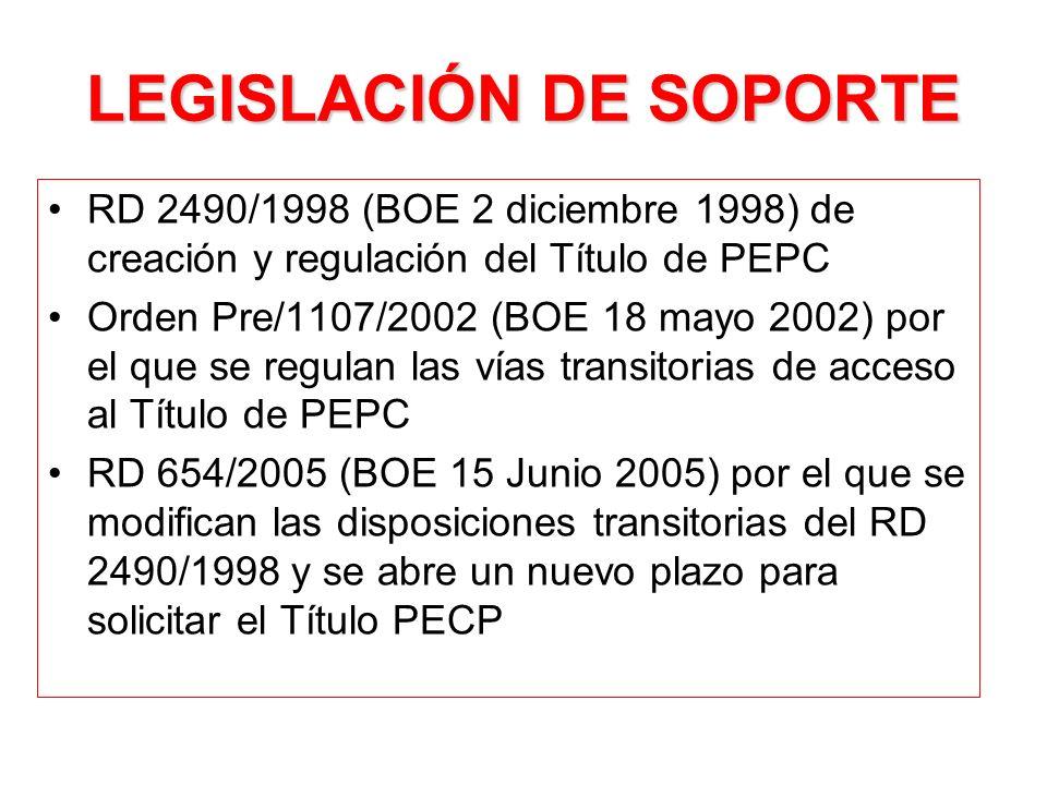 VÍAS TRANSITORIAS DE ACCESO AL TITULO DE PEPC 1ª.- PIR anteriores al RD 2490/1998 y a la 1ª convocatoria nacional PIR de 8 Octubre 1993 (por ej., PIR autonómico retribuido (contrato, beca o nombramiento).