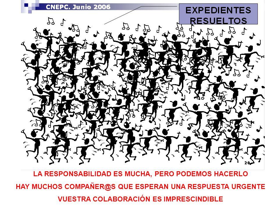LA RESPONSABILIDAD ES MUCHA, PERO PODEMOS HACERLO HAY MUCHOS COMPAÑER@S QUE ESPERAN UNA RESPUESTA URGENTE VUESTRA COLABORACIÓN ES IMPRESCINDIBLE