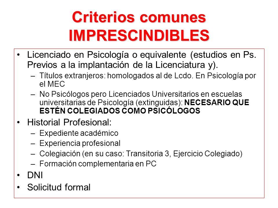 Criterios comunes IMPRESCINDIBLES Licenciado en Psicología o equivalente (estudios en Ps. Previos a la implantación de la Licenciatura y). –Títulos ex