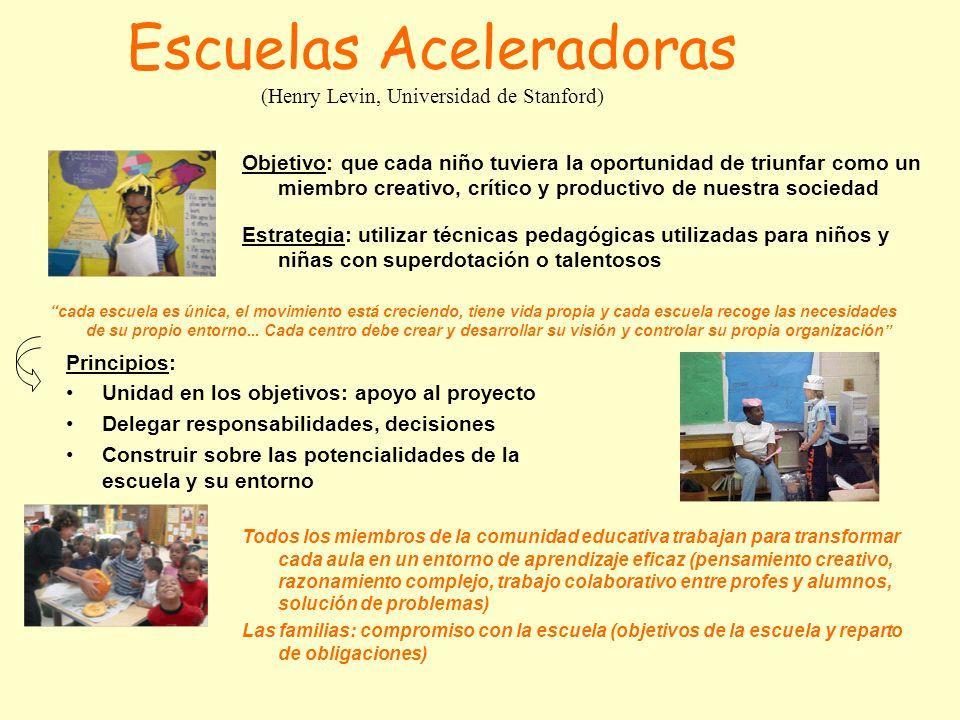 Escuelas Aceleradoras (Henry Levin, Universidad de Stanford) Estrategia: utilizar técnicas pedagógicas utilizadas para niños y niñas con superdotación