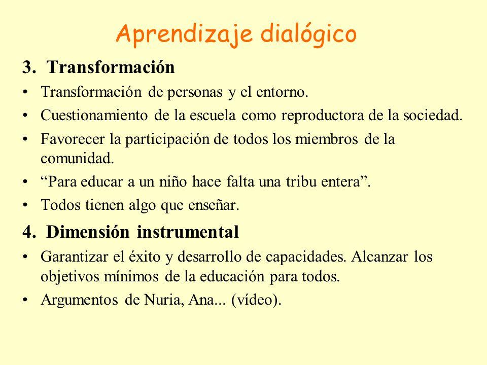 Aprendizaje dialógico 3. Transformación Transformación de personas y el entorno. Cuestionamiento de la escuela como reproductora de la sociedad. Favor