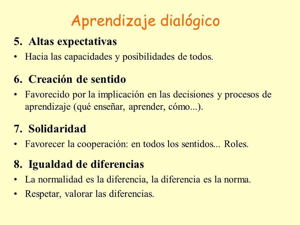 Aprendizaje dialógico 5. Altas expectativas Hacia las capacidades y posibilidades de todos. 6. Creación de sentido Favorecido por la implicación en la
