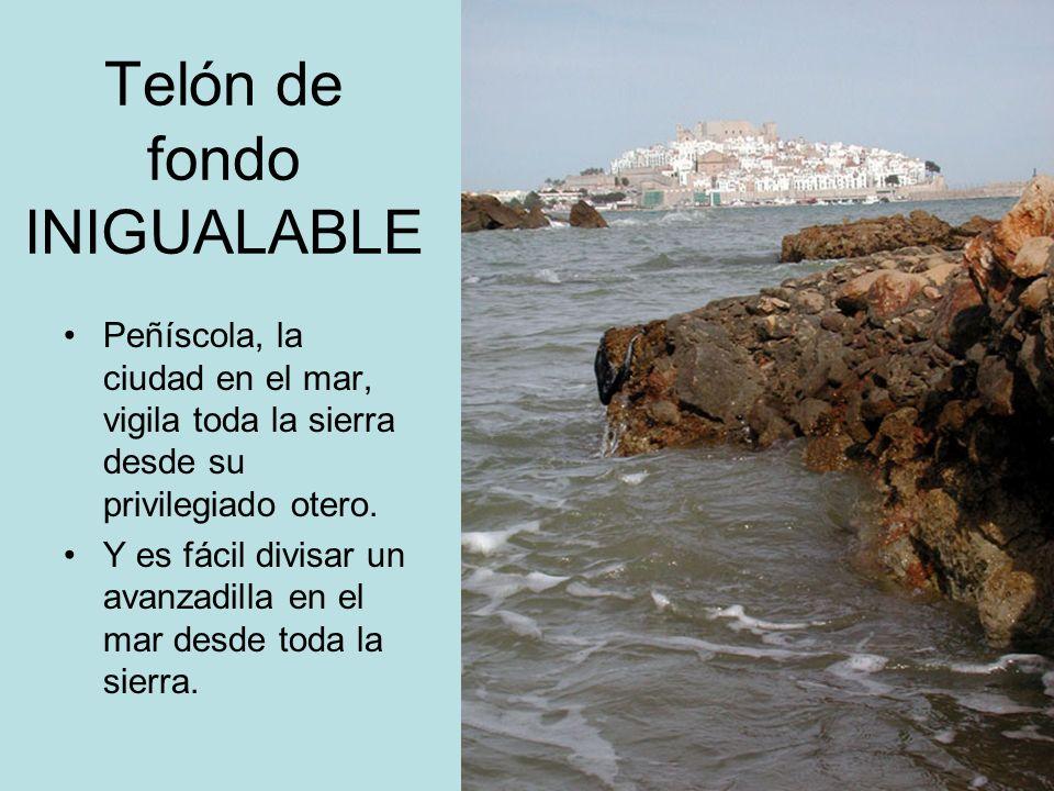 Telón de fondo INIGUALABLE Peñíscola, la ciudad en el mar, vigila toda la sierra desde su privilegiado otero. Y es fácil divisar un avanzadilla en el