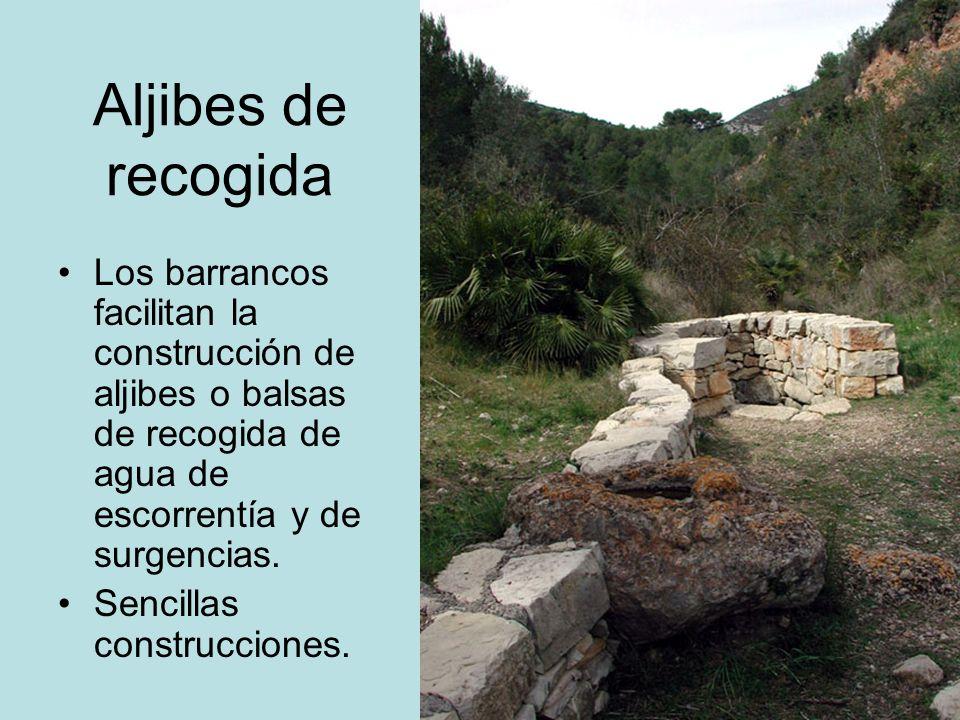 Aljibes de recogida Los barrancos facilitan la construcción de aljibes o balsas de recogida de agua de escorrentía y de surgencias. Sencillas construc