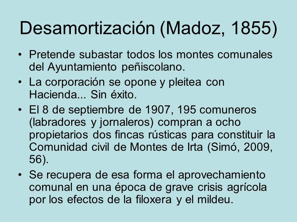 Desamortización (Madoz, 1855) Pretende subastar todos los montes comunales del Ayuntamiento peñiscolano. La corporación se opone y pleitea con Haciend