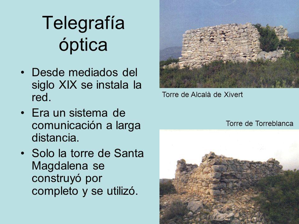 Telegrafía óptica Desde mediados del siglo XIX se instala la red. Era un sistema de comunicación a larga distancia. Solo la torre de Santa Magdalena s