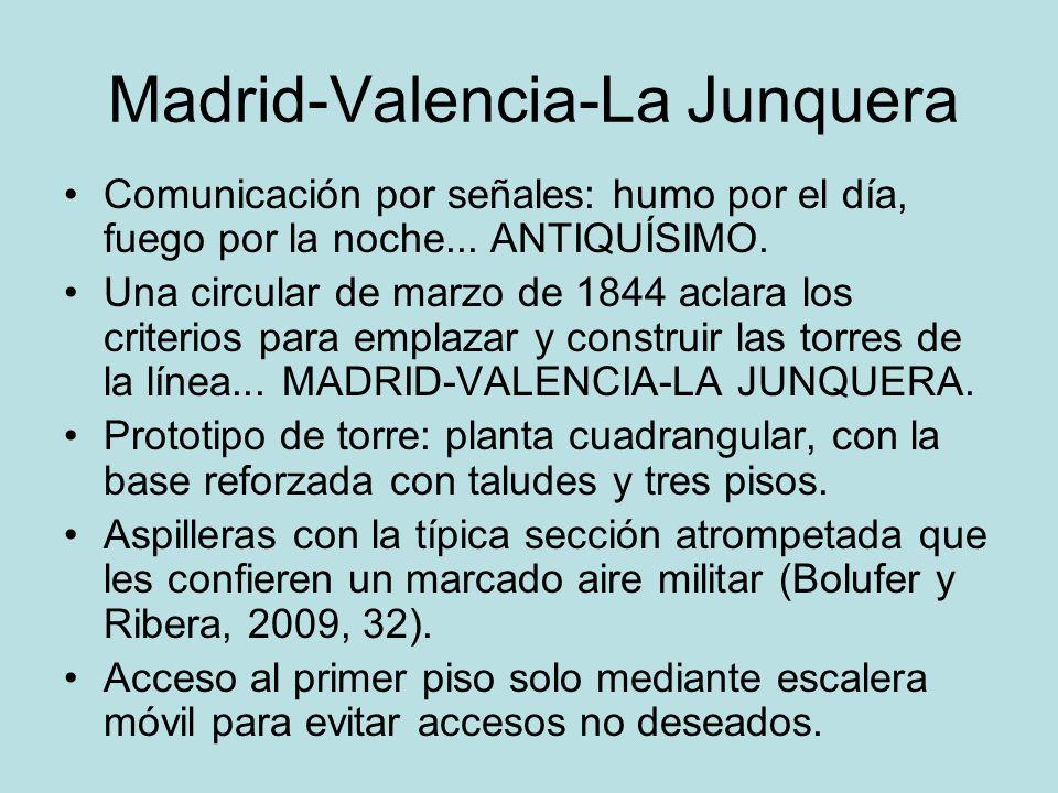 Madrid-Valencia-La Junquera Comunicación por señales: humo por el día, fuego por la noche... ANTIQUÍSIMO. Una circular de marzo de 1844 aclara los cri
