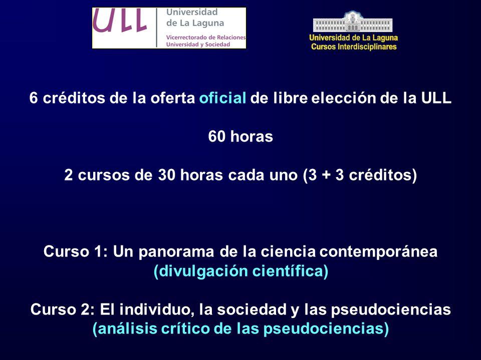 6 créditos de la oferta oficial de libre elección de la ULL 60 horas 2 cursos de 30 horas cada uno (3 + 3 créditos) Curso 1: Un panorama de la ciencia