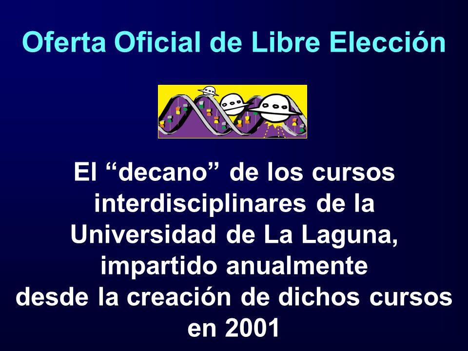 Oferta Oficial de Libre Elección El decano de los cursos interdisciplinares de la Universidad de La Laguna, impartido anualmente desde la creación de