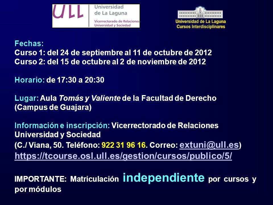 Fechas: Curso 1: del 24 de septiembre al 11 de octubre de 2012 Curso 2: del 15 de octubre al 2 de noviembre de 2012 Horario: de 17:30 a 20:30 Lugar: A