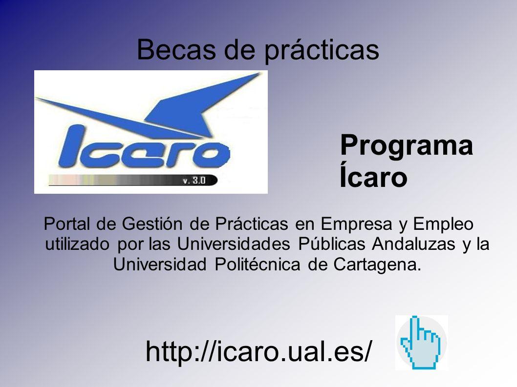 Becas de prácticas Programa Ícaro Portal de Gestión de Prácticas en Empresa y Empleo utilizado por las Universidades Públicas Andaluzas y la Universid