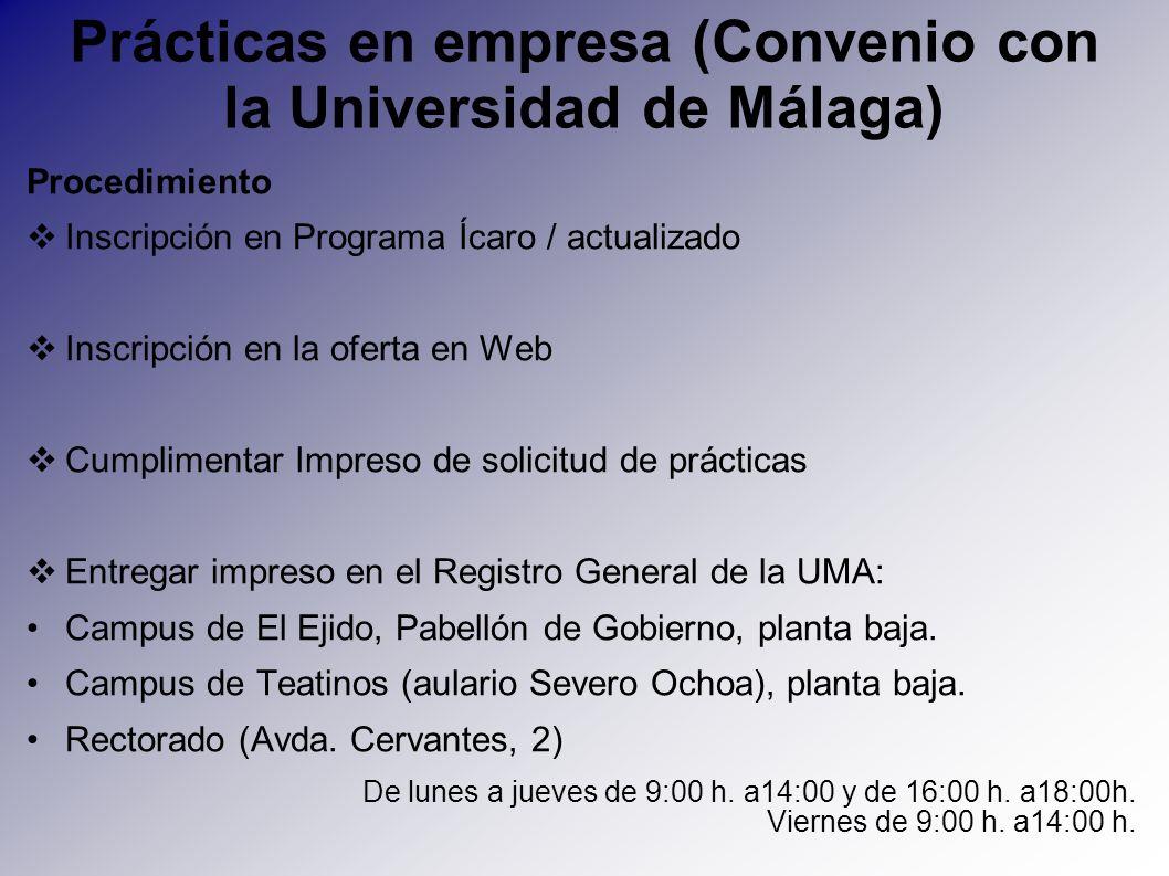 Prácticas en empresa (Convenio con la Universidad de Málaga) Procedimiento Inscripción en Programa Ícaro / actualizado Inscripción en la oferta en Web