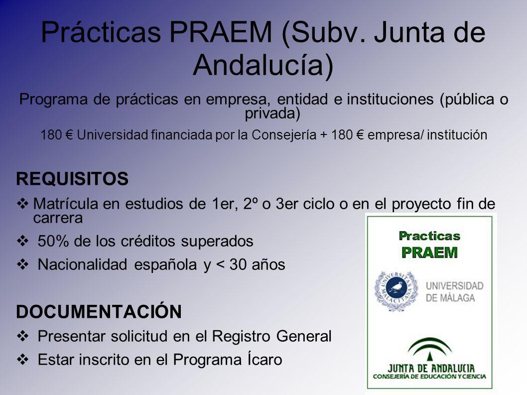 Prácticas PRAEM (Subv. Junta de Andalucía) Programa de prácticas en empresa, entidad e instituciones (pública o privada) 180 Universidad financiada po