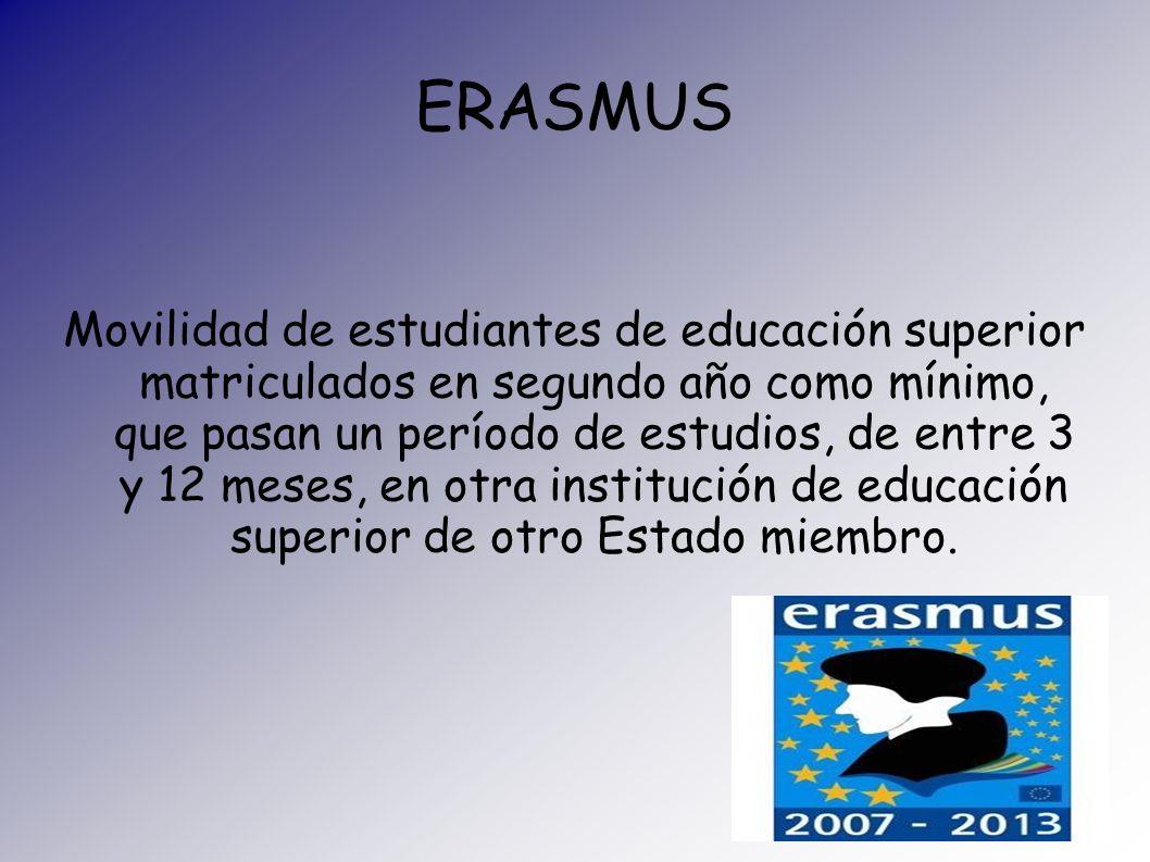 ERASMUS Movilidad de estudiantes de educación superior matriculados en segundo año como mínimo, que pasan un período de estudios, de entre 3 y 12 mese