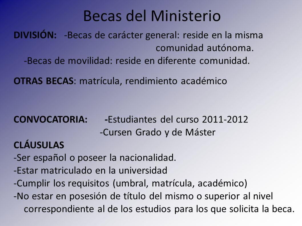 Becas del Ministerio MODALIDADES DE BECAS Beca salario: para Grado Ayuda compensatoria: para Máster y licenciatura Ayuda de residencia.