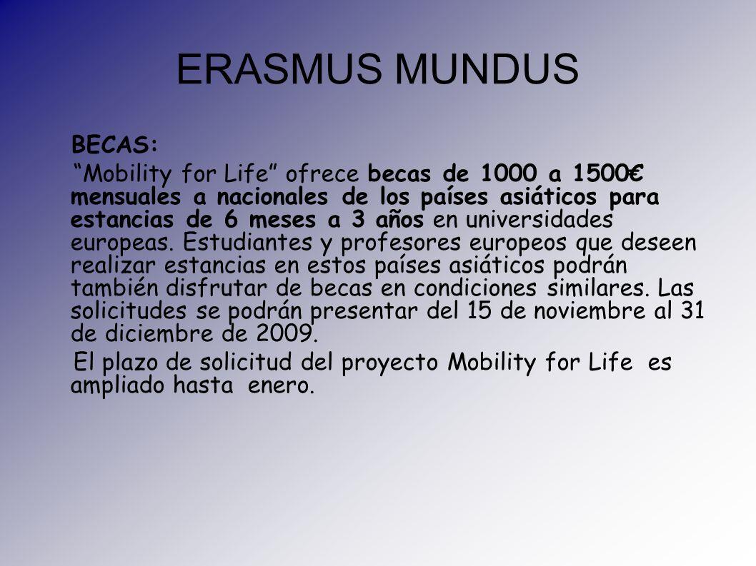 ERASMUS MUNDUS BECAS: Mobility for Life ofrece becas de 1000 a 1500 mensuales a nacionales de los países asiáticos para estancias de 6 meses a 3 años