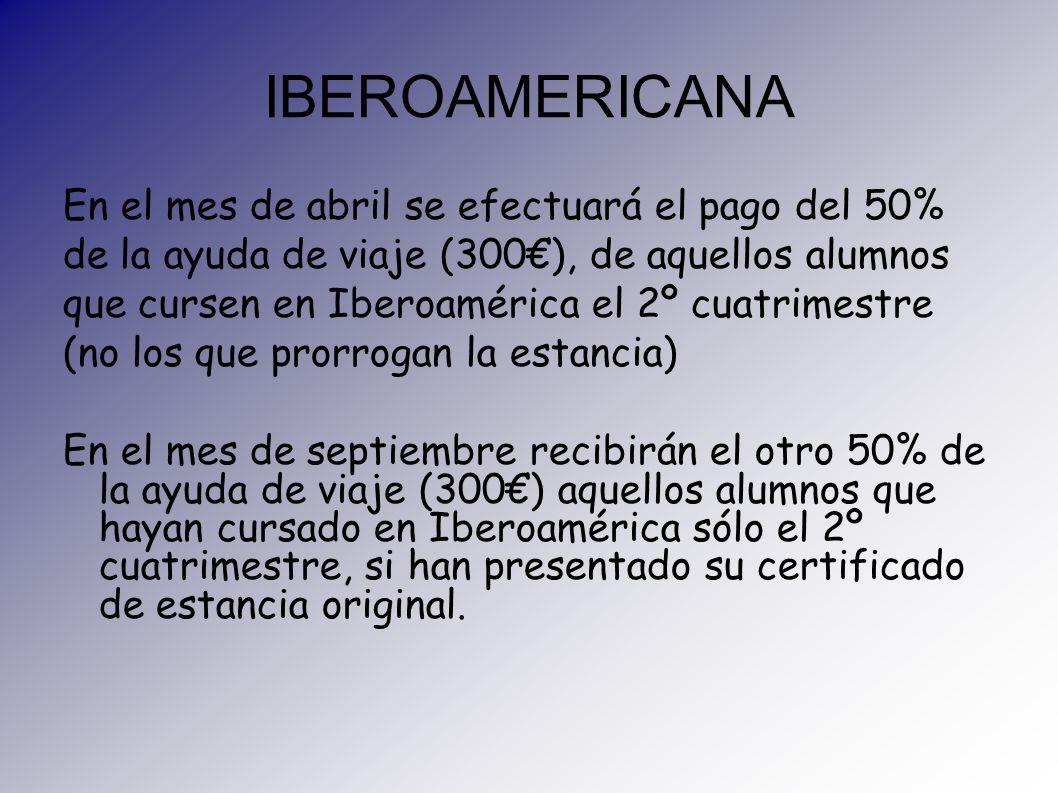 IBEROAMERICANA En el mes de abril se efectuará el pago del 50% de la ayuda de viaje (300), de aquellos alumnos que cursen en Iberoamérica el 2º cuatri