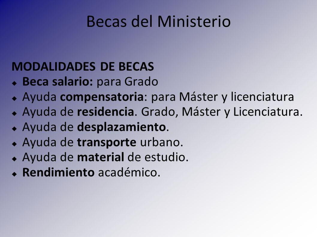 Becas del Ministerio MODALIDADES DE BECAS Beca salario: para Grado Ayuda compensatoria: para Máster y licenciatura Ayuda de residencia. Grado, Máster