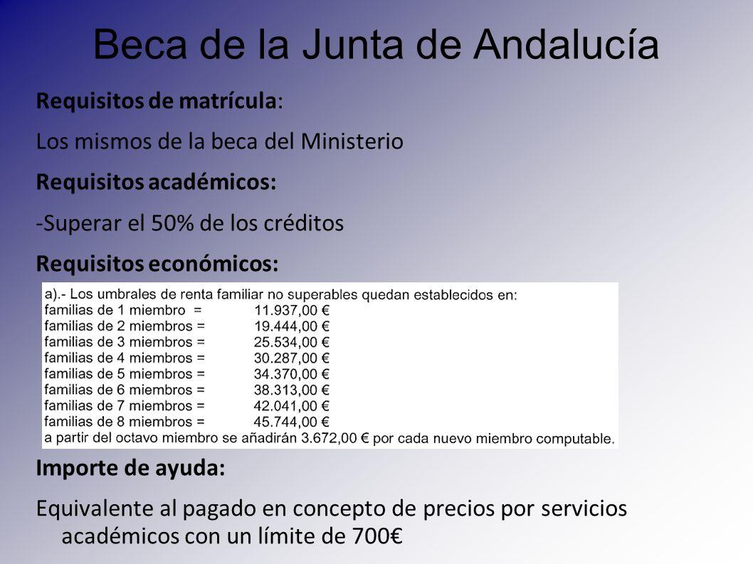 Beca de la Junta de Andalucía Requisitos de matrícula: Los mismos de la beca del Ministerio Requisitos académicos: -Superar el 50% de los créditos Req