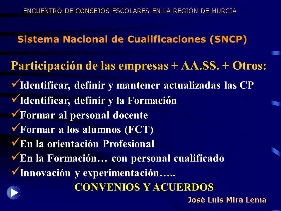 José Luis Mira Lema Sistema Nacional de Cualificaciones (SNCP) ENCUENTRO DE CONSEJOS ESCOLARES EN LA REGIÓN DE MURCIA Participación de las empresas +