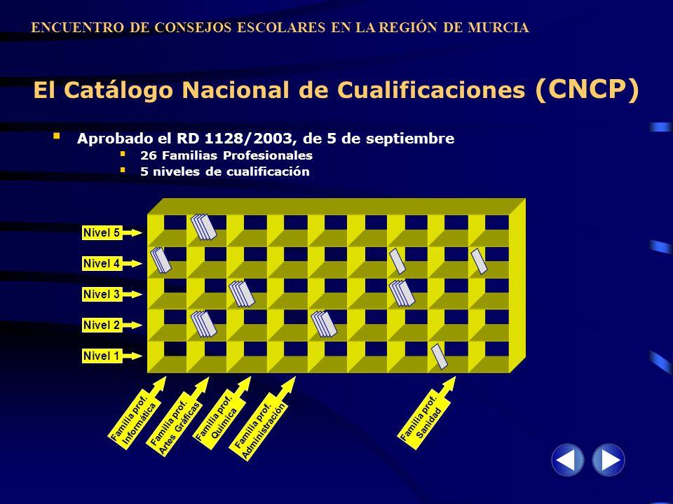 El Catálogo Nacional de Cualificaciones (CNCP) Aprobado el RD 1128/2003, de 5 de septiembre 26 Familias Profesionales 5 niveles de cualificación ENCUE