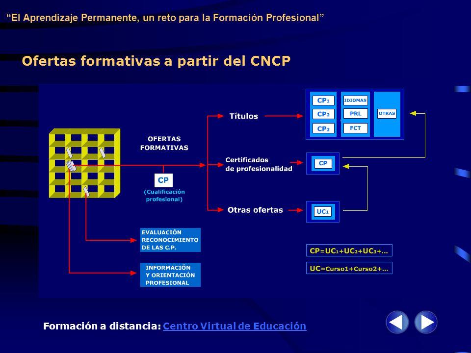 Ofertas formativas a partir del CNCP El Aprendizaje Permanente, un reto para la Formación Profesional Formación a distancia: Centro Virtual de Educaci