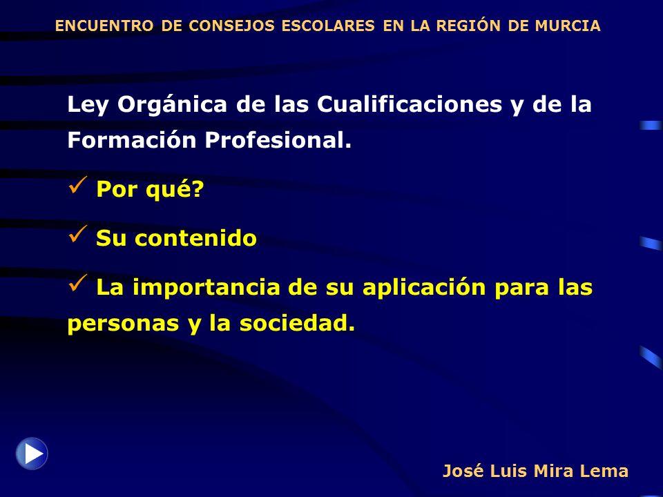 José Luis Mira Lema Ley Orgánica de las Cualificaciones y de la Formación Profesional. Por qué? Su contenido La importancia de su aplicación para las