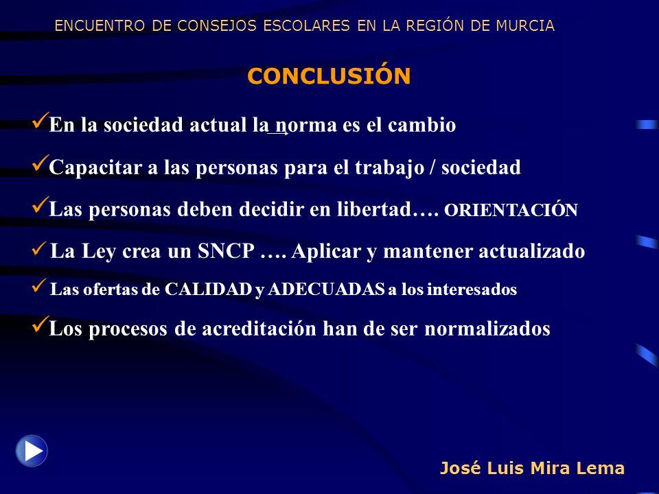 José Luis Mira Lema CONCLUSIÓN ENCUENTRO DE CONSEJOS ESCOLARES EN LA REGIÓN DE MURCIA En la sociedad actual la norma es el cambio Capacitar a las pers