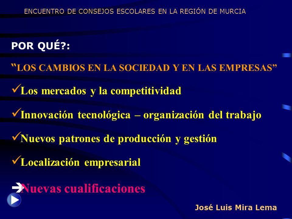 José Luis Mira Lema POR QUÉ?: LOS CAMBIOS EN LA SOCIEDAD Y EN LAS EMPRESAS Los mercados y la competitividad Innovación tecnológica – organización del