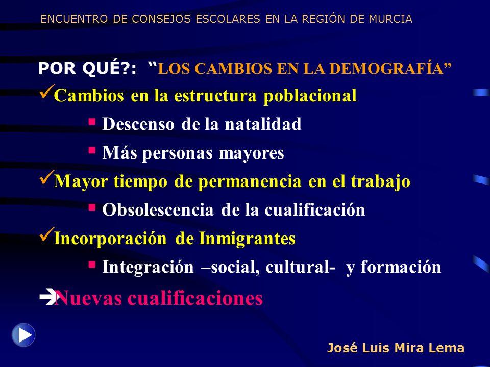 José Luis Mira Lema POR QUÉ?: LOS CAMBIOS EN LA DEMOGRAFÍA Cambios en la estructura poblacional Descenso de la natalidad Más personas mayores Mayor ti