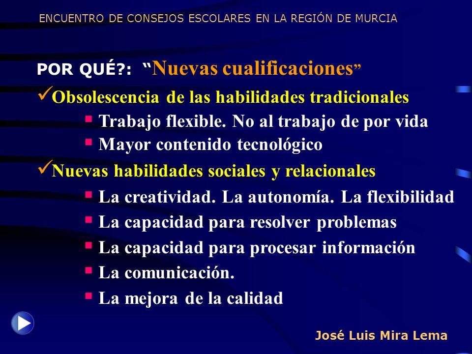 José Luis Mira Lema POR QUÉ?: Nuevas cualificaciones Obsolescencia de las habilidades tradicionales Trabajo flexible. No al trabajo de por vida Mayor