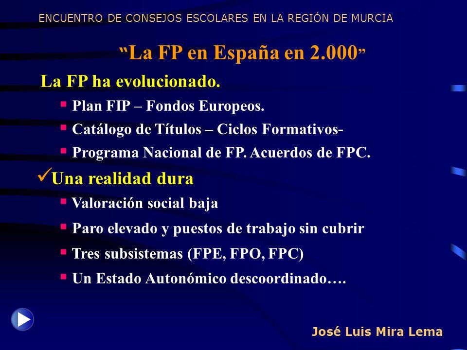 José Luis Mira Lema La FP en España en 2.000 La FP ha evolucionado. Plan FIP – Fondos Europeos. Catálogo de Títulos – Ciclos Formativos- Programa Naci