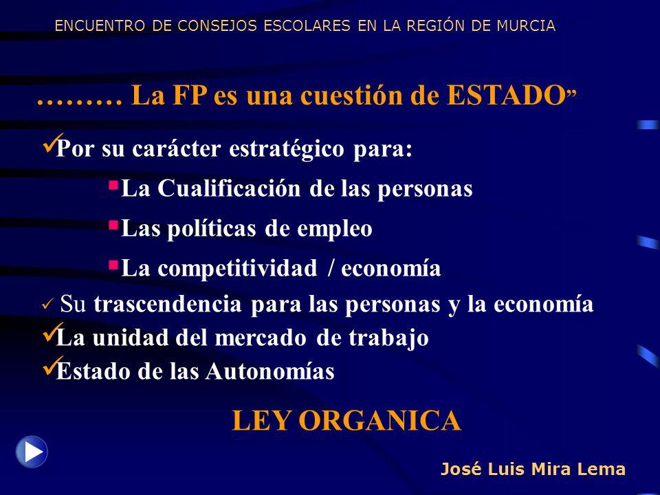 José Luis Mira Lema ……… La FP es una cuestión de ESTADO ENCUENTRO DE CONSEJOS ESCOLARES EN LA REGIÓN DE MURCIA Por su carácter estratégico para: La Cu