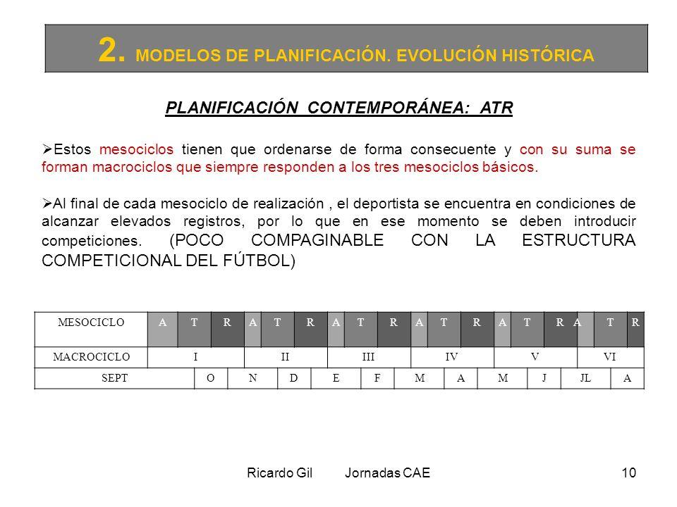 Ricardo Gil Jornadas CAE10 2. MODELOS DE PLANIFICACIÓN. EVOLUCIÓN HISTÓRICA PLANIFICACIÓN CONTEMPORÁNEA: ATR Estos mesociclos tienen que ordenarse de