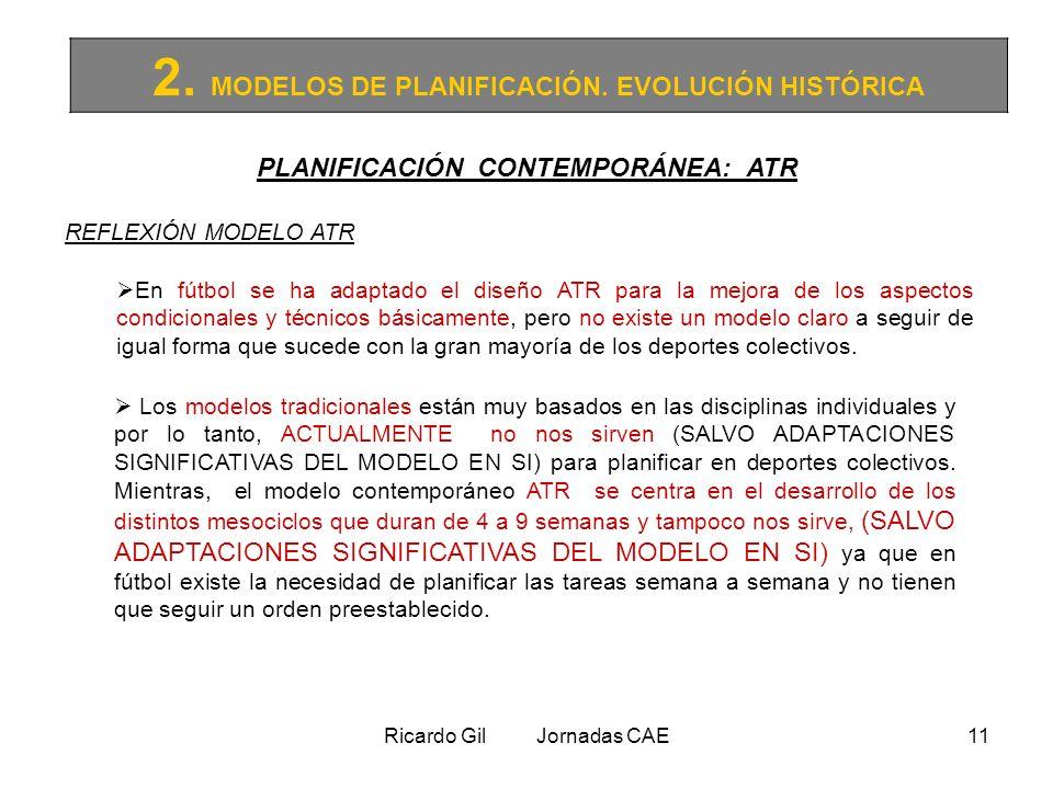 Ricardo Gil Jornadas CAE11 2. MODELOS DE PLANIFICACIÓN. EVOLUCIÓN HISTÓRICA PLANIFICACIÓN CONTEMPORÁNEA: ATR REFLEXIÓN MODELO ATR En fútbol se ha adap