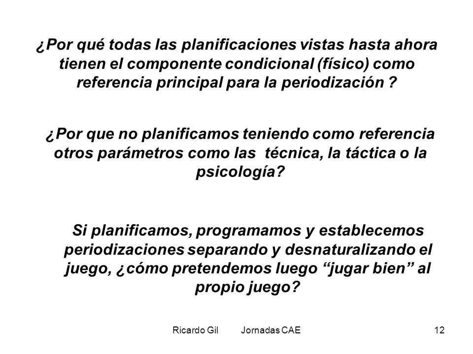 Ricardo Gil Jornadas CAE12 ¿Por qué todas las planificaciones vistas hasta ahora tienen el componente condicional (físico) como referencia principal p