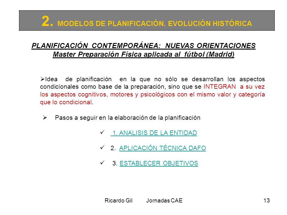 Ricardo Gil Jornadas CAE13 2. MODELOS DE PLANIFICACIÓN. EVOLUCIÓN HISTÓRICA PLANIFICACIÓN CONTEMPORÁNEA: NUEVAS ORIENTACIONES Master Preparación Físic
