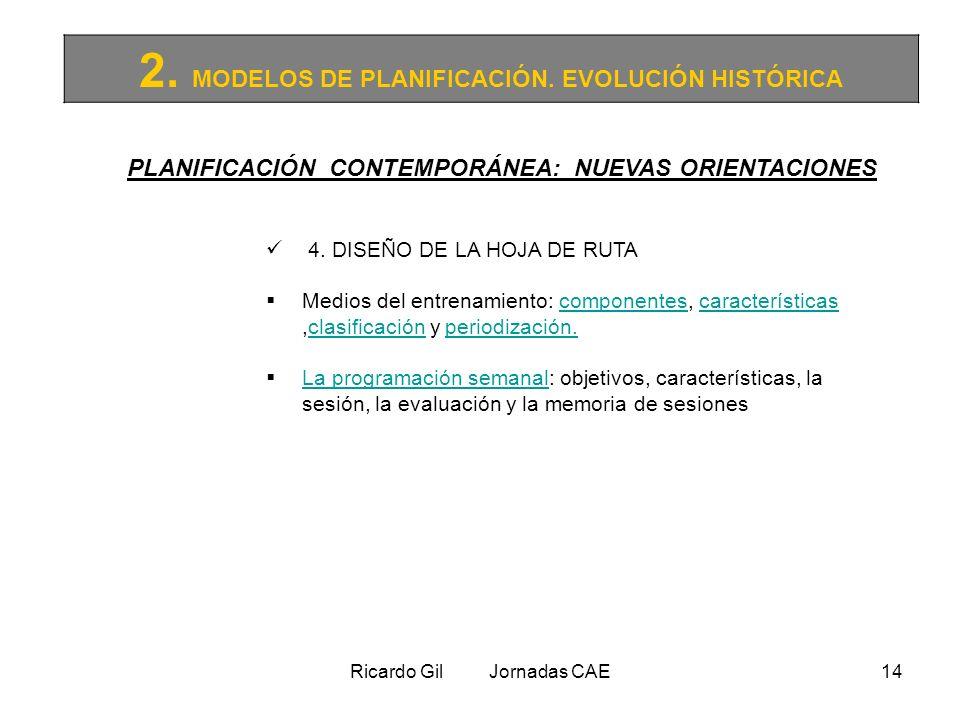 Ricardo Gil Jornadas CAE14 2. MODELOS DE PLANIFICACIÓN. EVOLUCIÓN HISTÓRICA PLANIFICACIÓN CONTEMPORÁNEA: NUEVAS ORIENTACIONES 4. DISEÑO DE LA HOJA DE