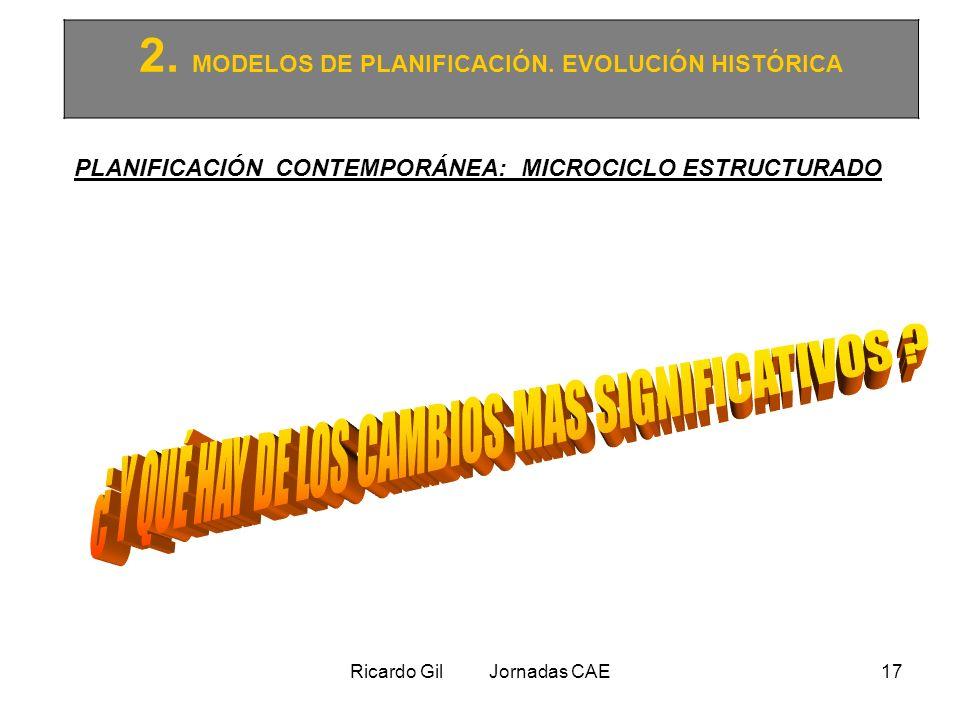 Ricardo Gil Jornadas CAE17 2. MODELOS DE PLANIFICACIÓN. EVOLUCIÓN HISTÓRICA PLANIFICACIÓN CONTEMPORÁNEA: MICROCICLO ESTRUCTURADO
