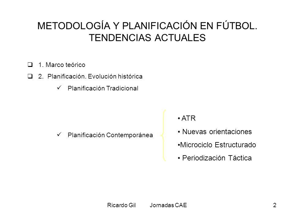 Ricardo Gil Jornadas CAE2 METODOLOGÍA Y PLANIFICACIÓN EN FÚTBOL. TENDENCIAS ACTUALES 1. Marco teórico 2. Planificación. Evolución histórica Planificac