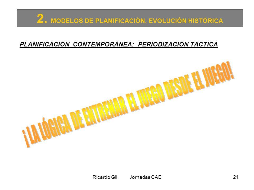 Ricardo Gil Jornadas CAE21 2. MODELOS DE PLANIFICACIÓN. EVOLUCIÓN HISTÓRICA PLANIFICACIÓN CONTEMPORÁNEA: PERIODIZACIÓN TÁCTICA