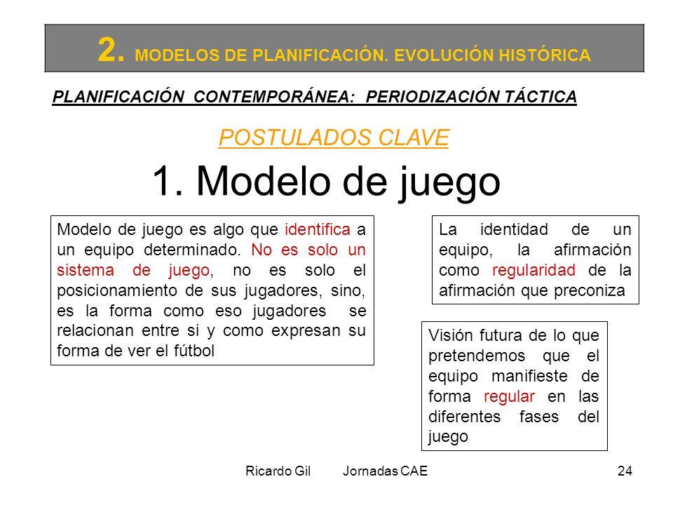 Ricardo Gil Jornadas CAE24 2. MODELOS DE PLANIFICACIÓN. EVOLUCIÓN HISTÓRICA PLANIFICACIÓN CONTEMPORÁNEA: PERIODIZACIÓN TÁCTICA POSTULADOS CLAVE 1. Mod