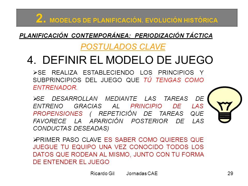 Ricardo Gil Jornadas CAE29 2. MODELOS DE PLANIFICACIÓN. EVOLUCIÓN HISTÓRICA PLANIFICACIÓN CONTEMPORÁNEA: PERIODIZACIÓN TÁCTICA POSTULADOS CLAVE 4. DEF