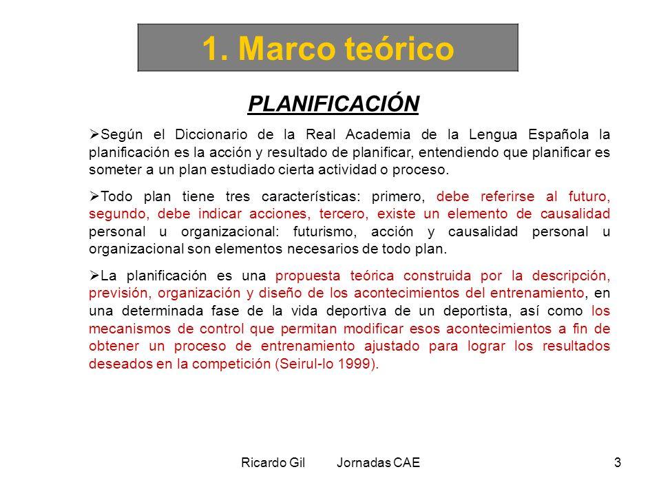 Ricardo Gil Jornadas CAE3 1. Marco teórico PLANIFICACIÓN Según el Diccionario de la Real Academia de la Lengua Española la planificación es la acción