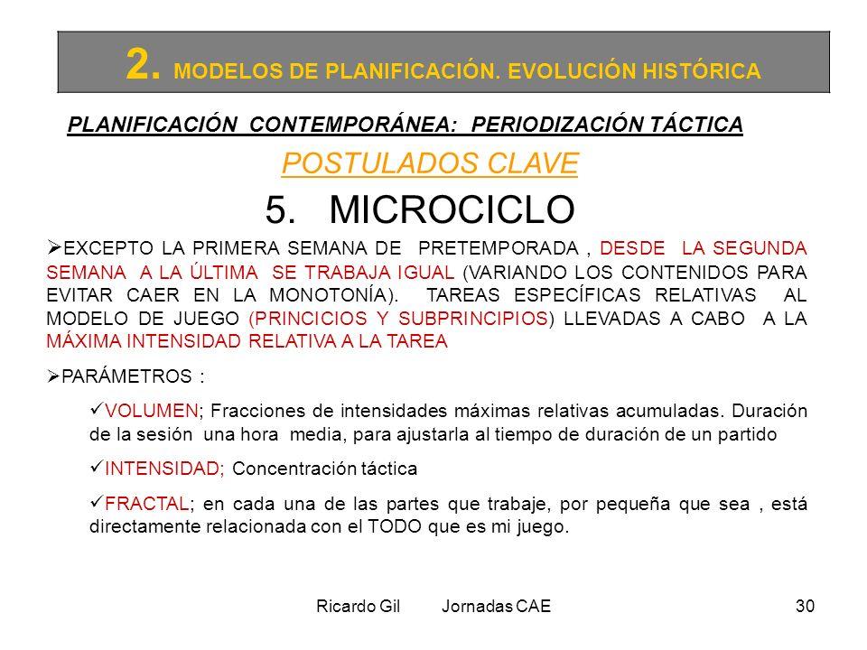 Ricardo Gil Jornadas CAE30 2. MODELOS DE PLANIFICACIÓN. EVOLUCIÓN HISTÓRICA PLANIFICACIÓN CONTEMPORÁNEA: PERIODIZACIÓN TÁCTICA POSTULADOS CLAVE 5. MIC