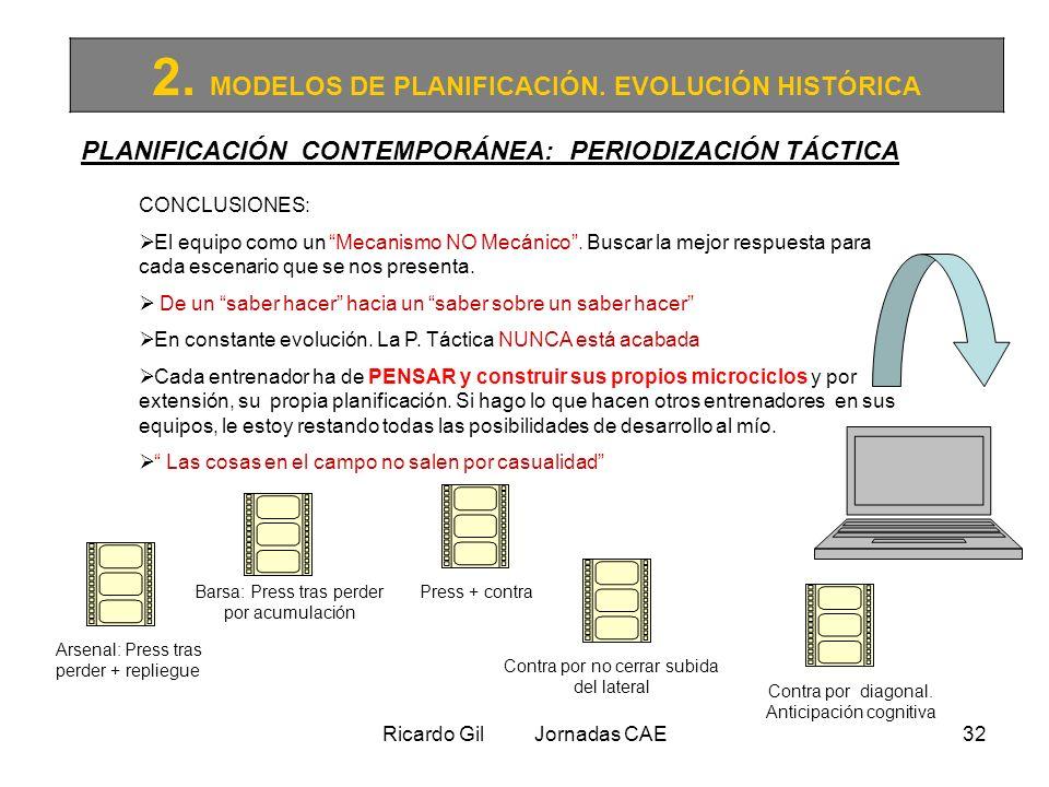 Ricardo Gil Jornadas CAE32 2. MODELOS DE PLANIFICACIÓN. EVOLUCIÓN HISTÓRICA PLANIFICACIÓN CONTEMPORÁNEA: PERIODIZACIÓN TÁCTICA CONCLUSIONES: El equipo