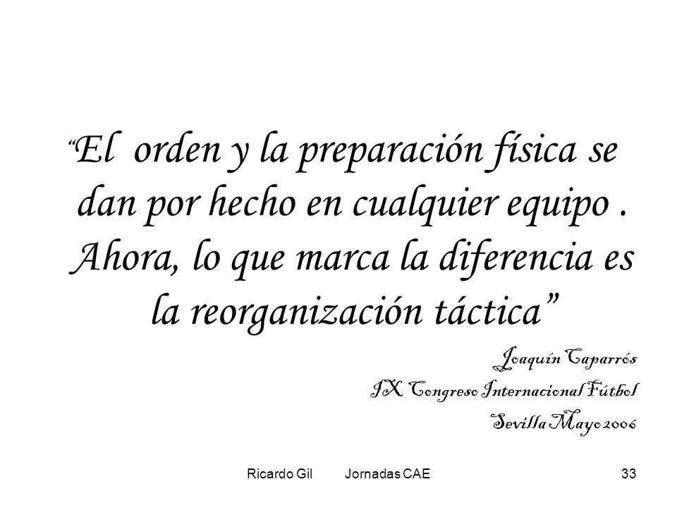 Ricardo Gil Jornadas CAE33 El orden y la preparación física se dan por hecho en cualquier equipo. Ahora, lo que marca la diferencia es la reorganizaci