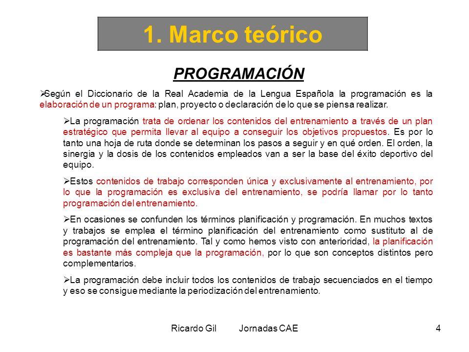 Ricardo Gil Jornadas CAE4 1. Marco teórico PROGRAMACIÓN Según el Diccionario de la Real Academia de la Lengua Española la programación es la elaboraci