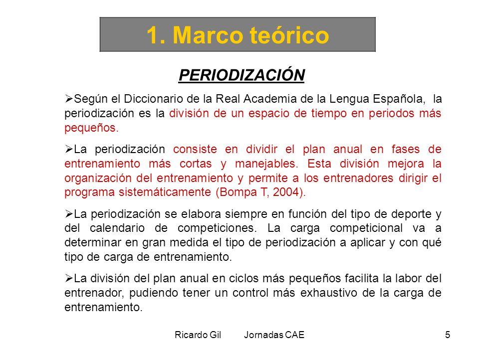 Ricardo Gil Jornadas CAE5 1. Marco teórico PERIODIZACIÓN Según el Diccionario de la Real Academia de la Lengua Española, la periodización es la divisi